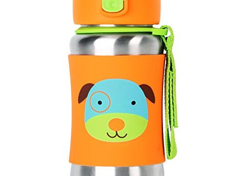 Skip Hop Baby Zoo Little Kid and Toddler Feeding Travel-To-Go Insulated  Stainless Steel Straw Bottle, 12 oz, Multi Darby Dog