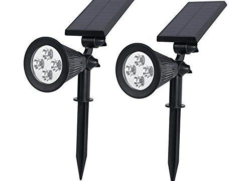 Auxmart Solar Lights 2-in-1 Waterproof 4 LED Solar Spotlight Adjustable Wall Light Landscape Light Security Lighting Dark Sensing Auto On/Off for Landscapes, Grass Area, Decks, Docks Pack of 2