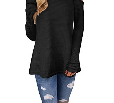 Ineffable Women's Long Sleeve Cold Shoulder Knitted Sweater Split Tunic TopsBlack, XXL