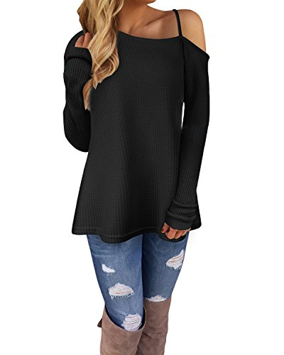 c23ab0b14d Ineffable Women's Long Sleeve Cold Shoulder Knitted Sweater Split ...