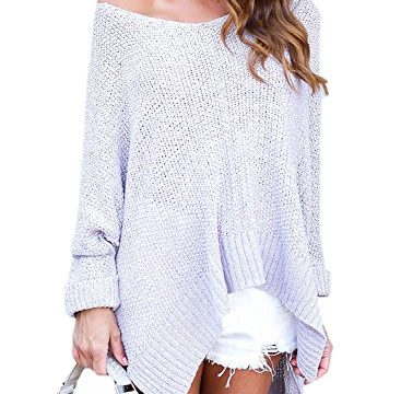 HOTAPEI Womens Sweaters Oversized Off The Shoulder Loose Knit High low Long Slit Side V Neck Pullover Sweaters Grey XL