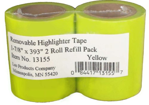 Lee Products Co. 1-7/8-Inch Wide, 393-Inch Long Removable Highlighter Tape, 2-Roll Refill Pack, Yellow 13155