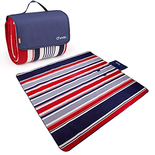 Yodo Extra Large Outdoor Waterproof Picnic Blanket Tote 79″ x 79″Light Weight with Soft Fleece and Padding,Fall Winter Navy Stripe