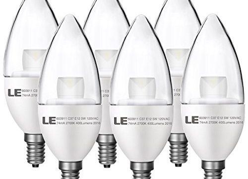 LE 6 Pack E12 Candelabra LED Bulbs, 40W Incandescent Bulbs Equivalent, 5W, 400lm, 180° Beam Angle, 2700K Warm White, LED Candle Light Bulbs