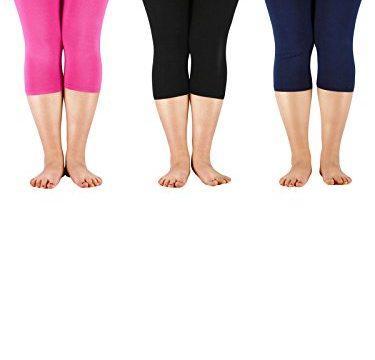 Zando Women's 3/4 Length Soft Stretchy Plus Size Crop Seamless Capri Leggings Lightweight Modal Smooth Pants N 3 Pairs Black w Navy w Rose Red US 2X Plus-US 4X Plus