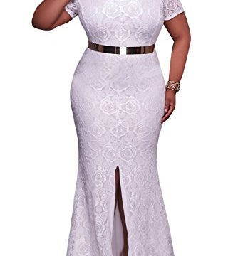 Elapsy Womens Plus Size Off Shoulder High Slit Floral Maxi Party Formal Evening Long Dress White XXX-large