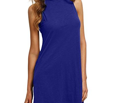 ZANZEA Women's High Neck Sleeveless Causal Elegant T Shirt Dress Mini dresses Blue S