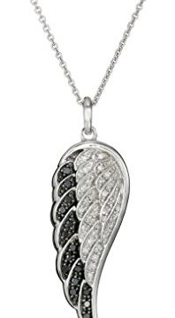 Sterling Silver Black and White Diamond Angel Wing Pendant Necklace 1/5 cttw, 18″