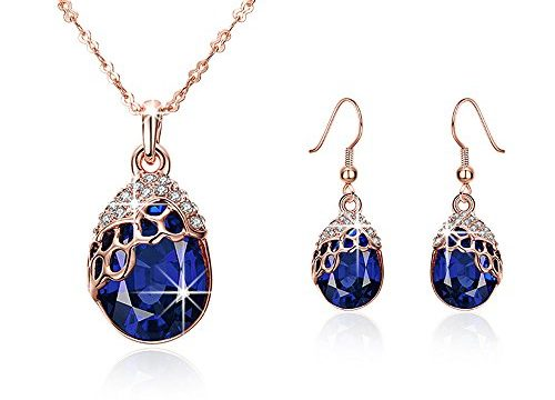 """""""Teardrop of a Mermaid"""" Rose Gold-plated Sapphire Pendant Necklace & Earrings -Mysterious Blue Ocean Story"""
