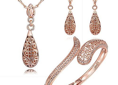 """Party Queen""Venus's Teardrop Rose Gold Plated Hollow Pendant Necklace Earrings Bracelet Jewelry Set 3"