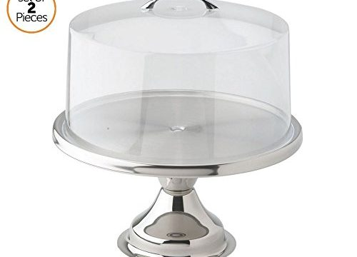Cake Stand with Cover by ChefGiant – Cake, Pie, Pastry Display – 13″ Round Stainless Steel Base & Clear Acrylic Lid