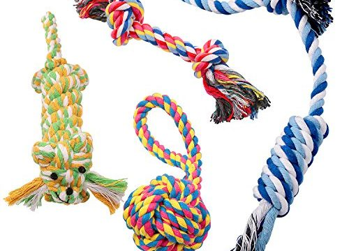 4 Pack Gift Set – Dog Chew Toys Puppy Cotton Rope Healthy Tooth Clean Toys Durable Colorful Chew Toy Set for Small and Medium Dogs