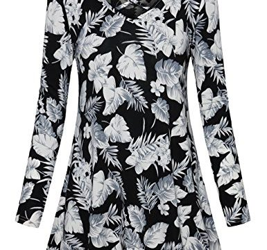 Printed Tops for Women,FANSIC Stylish Criss Cross Front Long Sleeve Womens Tunics Medium White