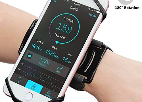 Matone iPhone 7/7 Plus/6/6S Plus Wristband, 180° Rotatable Phone Holder Forearm Armband Ideal for Jogging Running Compatible with Samsung Galaxy S8/S7 & 4.0″-5.5″ Smartphone Black