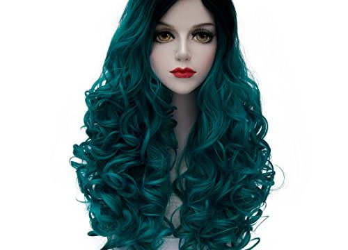 TopWigy Women's Long Curly Wave Wig Copslay Wig Fashionable Ombre Heat Resistant Costume Full Wig Black to Turquoise 24″ 60CM