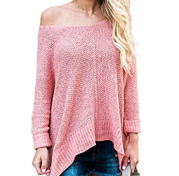 ZKESS Loose Round Neck One Off Shoulder Long Sleeve Irregular Front Knitted Oversized Sweaters for Women Pullovers Top Pink Large