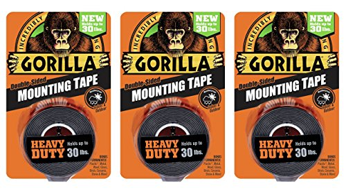Gorilla 6055001-3 Double-Sided Heavy Duty Mounting Tape 3 Pack, 1″ x 60″, Black