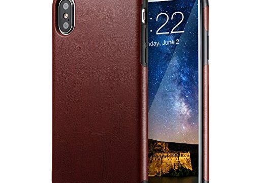 iPhone X Brown Leather Case, technext020 Ultra Slim Fit iPhone 10 Artificial PU Synthetic Leather Cover Shock Resistance Protective for Apple iPhone X Brown