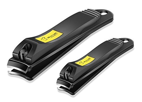 BESTOPE Nail Clipper Set 2PCs Black Stainless Steel Fingernail & Toenail Clippers, Sharp Nail Cutter with Metal Case