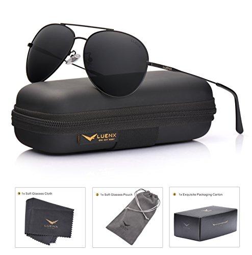 dbd22e6dd91 LUENX Aviator Sunglasses Polarized Mens Womens Black Lens Black ...