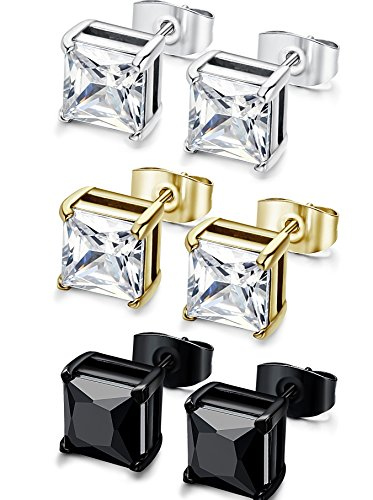 43f352a3a FIBO STEEL 3 Pairs Stainless Steel Studs Earrings for Men Women Cubic  Zirconia Inlaid,3-8mm Available