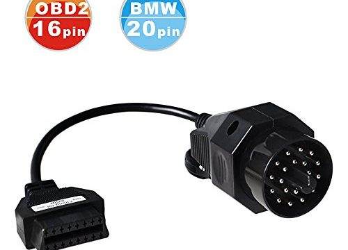 ASSEM®BMW 20 Pin OBD2 Round Diagnostic Scanner Adapter Cable for BMW E36 E46 E38 E39 E53 X5 Z3