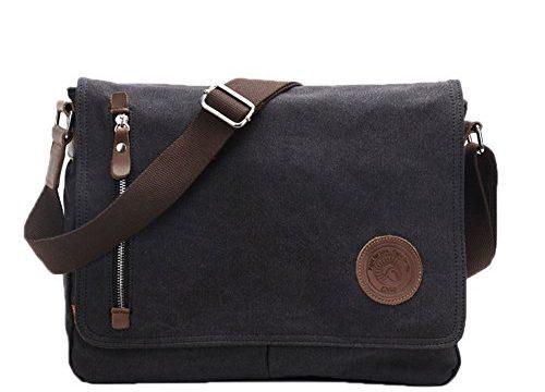 Black – Egoelife  LB-BBPHF18  Unisex Casual High Quality Canvas Satchel Messenger Bag for Traveling Camping