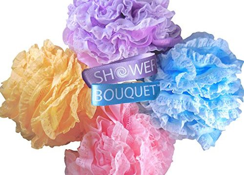 Full 60g 4 Pack, 4 Colors Body Luffa Loofa Loufa Puff Scrubber – Loofah Bath Sponge Large Lace Set by Shower Bouquet: Mesh Pouf – Exfoliate, Cleanse, Soothe Skin with Luxurious Bathing Accessories