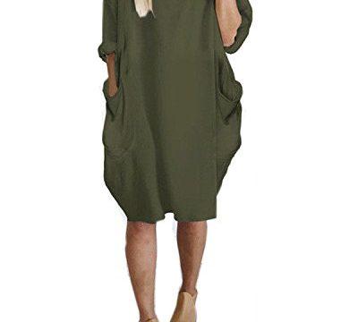 Kidsform Women Tunic Dress Loose Long/Short Sleeve Plain Solid Oversize Baggy Party Shirt Mini Short Dresses With Pockets