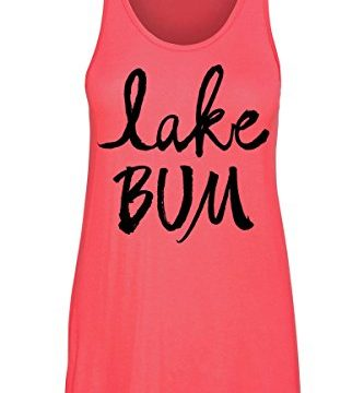 COLORBEAR Women's Lake Bum Graphic Scoop Neck Tank Top, Coral, Medium