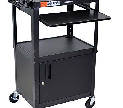 Black – Luxor Mobile Adjustable Multipurpose Steel Storage AV Cart with Cabinet, Pullout Keyboard Tray