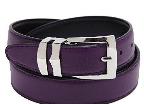 Reversible Belt Bonded Leather Removable Silver-Tone Buckle PURPLE/Black