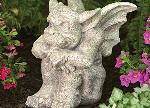 Bits and Pieces – Cast Weather Resistant Resin Sculpture Measures 8-1/4″ x 6-1/2″ x 7-1/4″ – Sitting Garden Statue – Tristan The Gargoyle