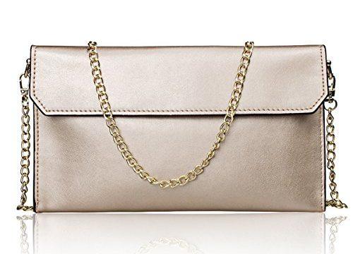 S-ZONE Women's Genuine Leather Envelope Clutches Handbag Shoulder Evening Bag Light Gold