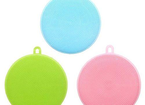 Silicone Dish Sponge Dish Scrubber – Antibacterial Sponge 3 Pack – Non Scratch Sponge Rubber Sponge Antimicrobial Sponge Cleaning Sponge Kitchen Dish Scrubber Pan Scrubber Vegetable Scrubber