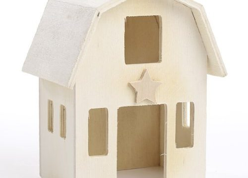 Set of 2 Unfinished Wood Assembled Country Barn Perfect for Crafters, Creators, and Decorators