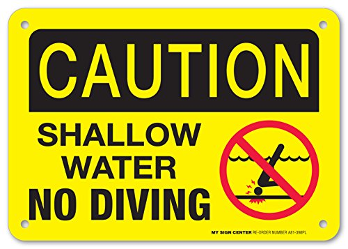 Pool Rules Sign – 7″x10″ – Indoor and Outdoor Use – Made in USA – A81-398PL – Caution Shallow Water No Diving – .060 Heavy Duty Plastic