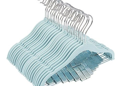 Juvale 24 Pack Baby Clothes Velvet Hangers with Clips Blue Ultra Thin No Slip Kids 12″ x 8″