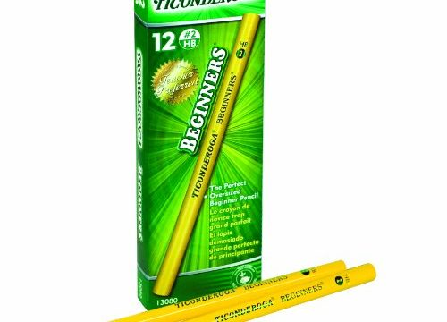 Dixon Ticonderoga Beginners Primary Size #2 Pencils without Erasers, Box of 12, Yellow 13080