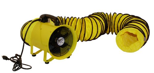 MaxxAir HVHF 12COMBO Heavy Duty Cylinder Fan with 20-foot Vinyl Hose, High Velocity Portable Blower/Exhaust Axial Hose Fan, 12-Inch, Yellow