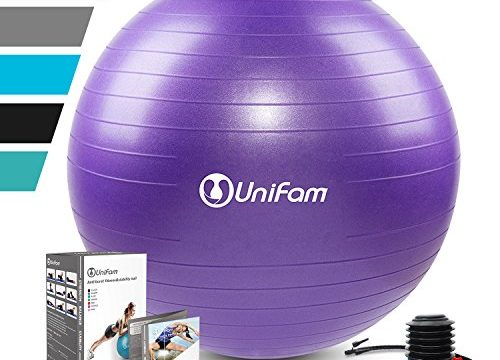 Exercise Stability Ball Chair with Hand Pump Use for Crossfit, Yoga, Balance & Core Strength Training, Non-Slip & Anti-Burst Extra Thick Fitness BallPurple&75CM