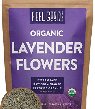 Perfect for Tea, Baking, Lemonade, DIY Beauty, Sachets & Fresh Fragrance – 100% Raw From France – Organic Lavender Flowers Dried – Large 4oz Resealable Bag – by Feel Good Organics