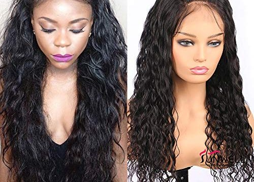 Human Hair Wigs for Black Women Sunwell Brazilian Human Hair Lace Wigs with Baby Hair Water Wave 130% Density Natural Color