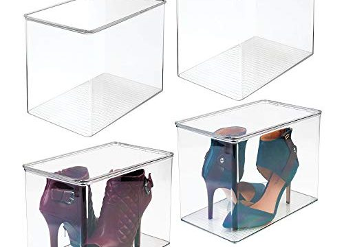 Container for Organizing Mens and Womens Shoes, Booties, Pumps, Sandals, Wedges, Flats, Heels and Accessories – Clear – 9″ High, 4 Pack – mDesign Stackable Closet Plastic Storage Bin Box with Lid