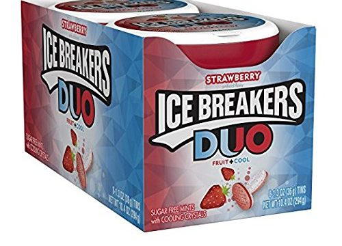 ICE BREAKERS Duo Sugar Free Mints, Strawberry, 1.3 Ounce Pack of 8