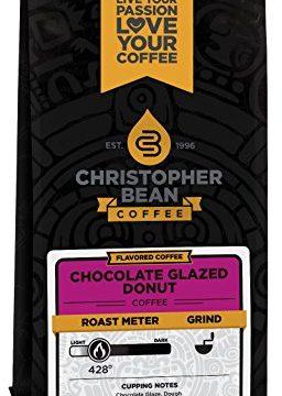 Christopher Bean Coffee Decaffeinated Ground Coffee, Chocolate Glazed Donut, 12 Ounce