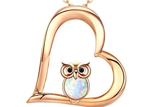 Cuoka Owl Gifts Silver Opal Owl Necklace Valentine Gift for Owl Lovers