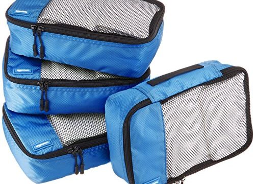 AmazonBasics Small Packing Cubes – 4 Piece Set, Blue