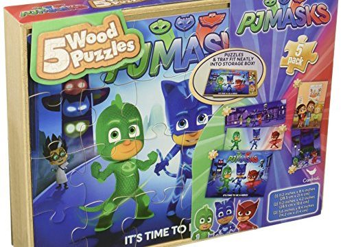 PJ Masks 5 Wood Puzzles in Wooden Storage Box Styles Will Vary