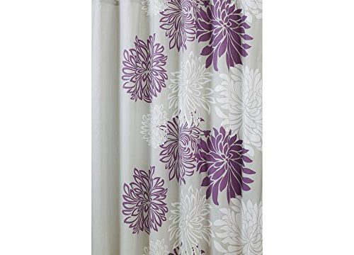 Comfort Spaces – Enya Shower Curtain – Purple, Grey – Floral Printed- 72×72 inches